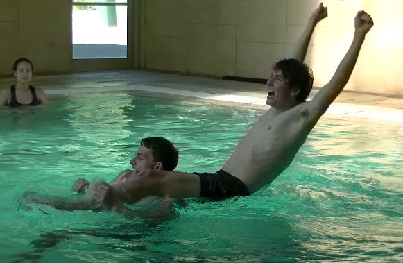 Ben and Tim in the pool