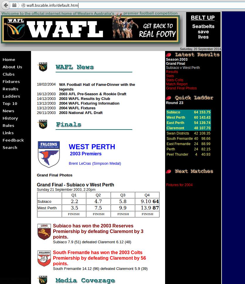 WAFL website