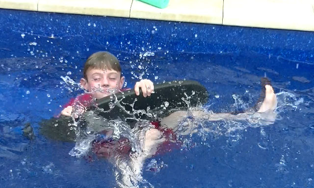Henry in the pool