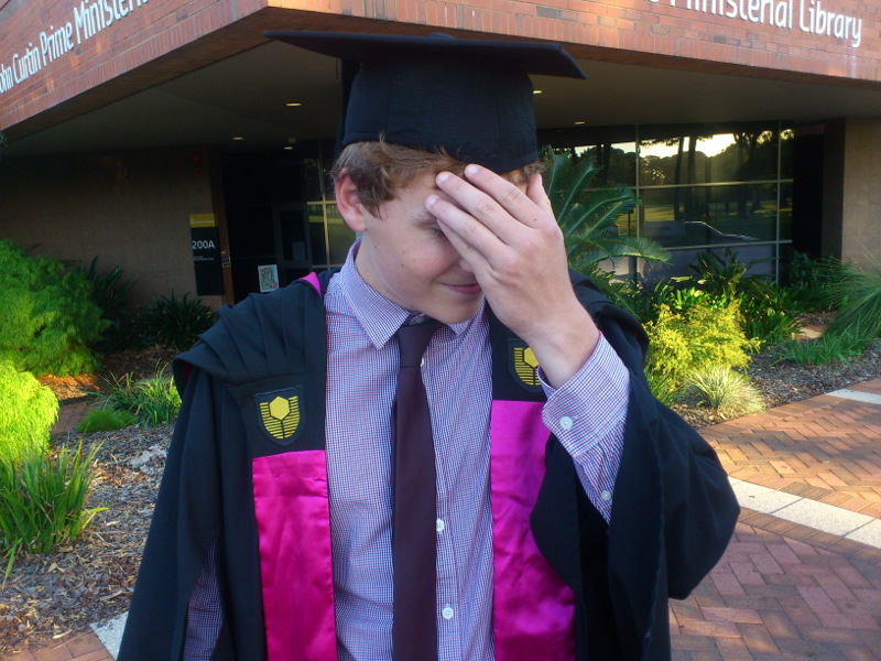 Tim can't believe he's graduated