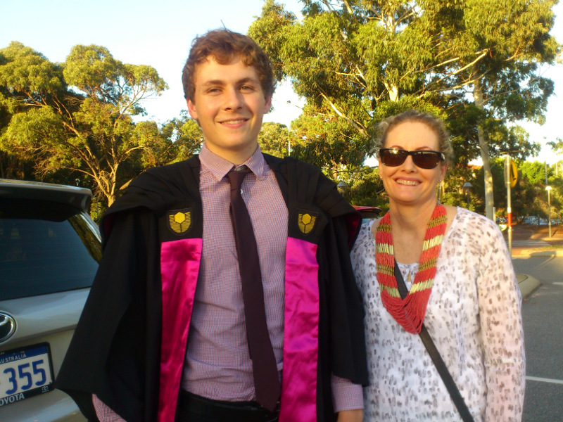 Tim with Jo on graduation night