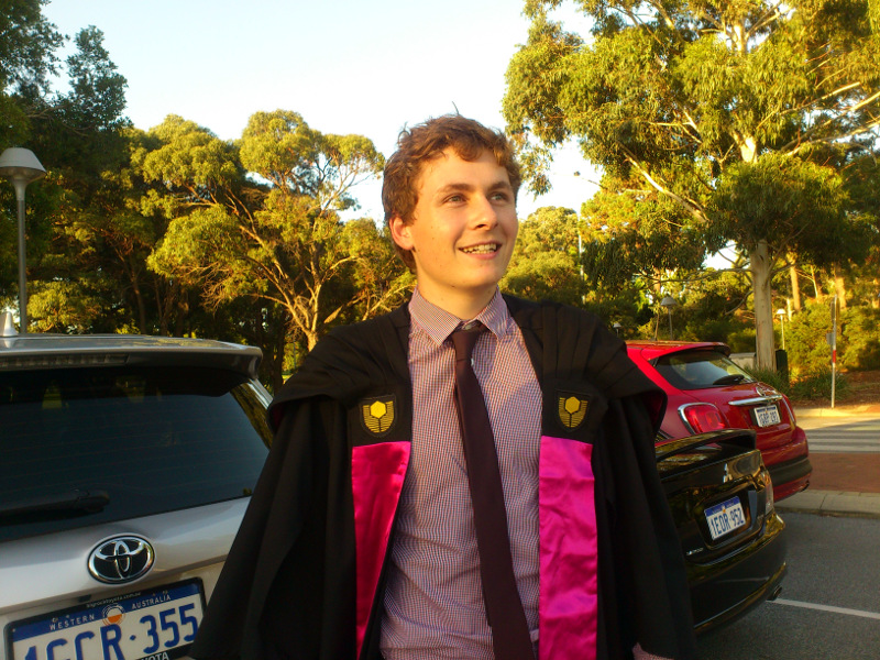 Tim on graduation night at Curtin University